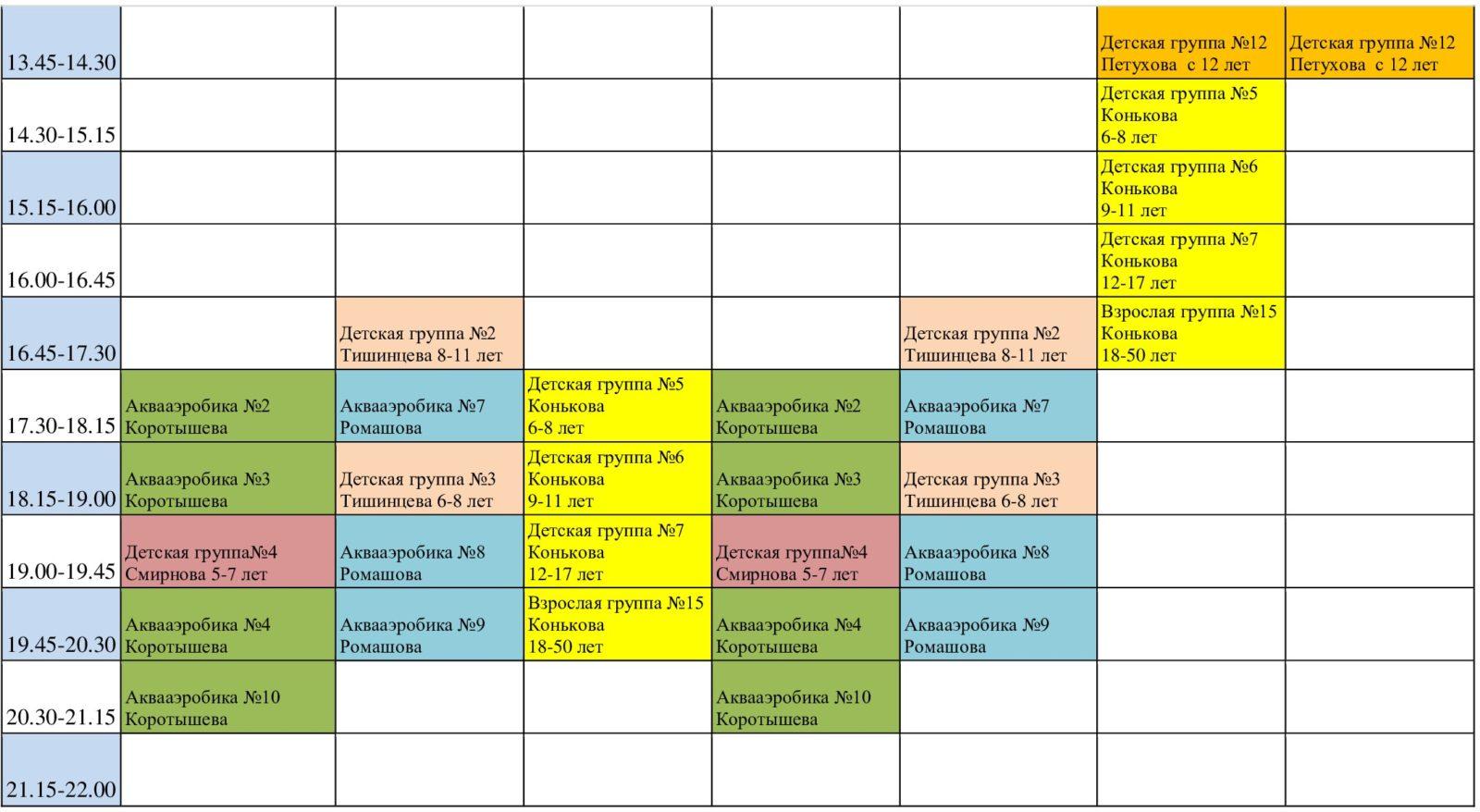 Расписание бассейна